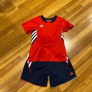 Adidas red white and blue shorts outfit